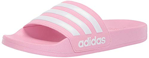 adidas unisex child Adilette Shower Sandal, True Pink/White/True Pink, 11 Little Kid US