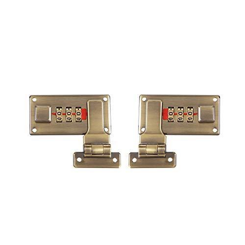 2pcs Tool Box Hasp, Luggage Suitcase Hasps with Combination Lock,Replacement 3 Digit Combination (Bronze)