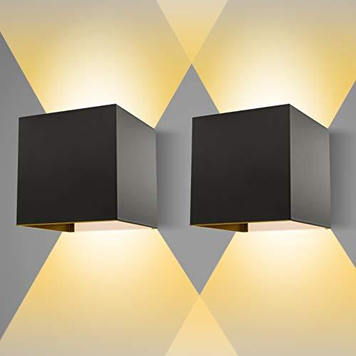 Apliques Pared LED, Tolare 12W 3000K De Angulo De Haz Ajustable Aplique Pared Interior, IP65 Impermeable Lamparas De Pared Exterior, Para Salon, Dormitorio, Escalera, Patio, Balcón, Baño [negro 2 Pcs]