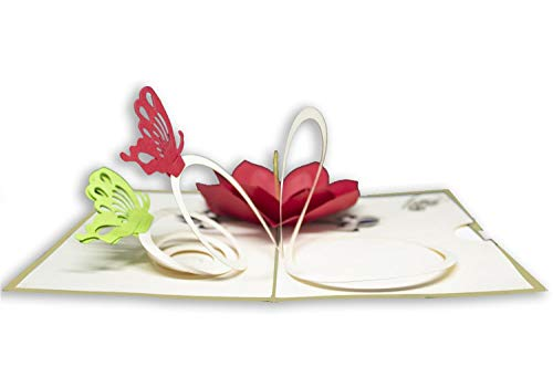Tarjeta de felicitación con diseño de origami, mariposas y flores