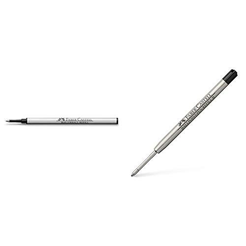 Faber-Castell - Cartucho de tinta de recambio para bolígrafo, color negro + Cartucho de tinta de recambio para bolígrafo (punta gruesa), color negro