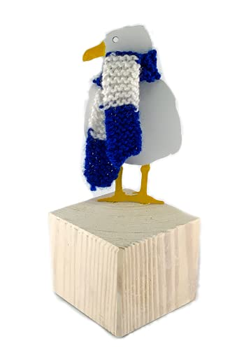 Metal Seagull on Wood Block Ornament, Seabird Coastal Decor, Brighton and Hove Albion Fan Gift, Beach Style Decoration