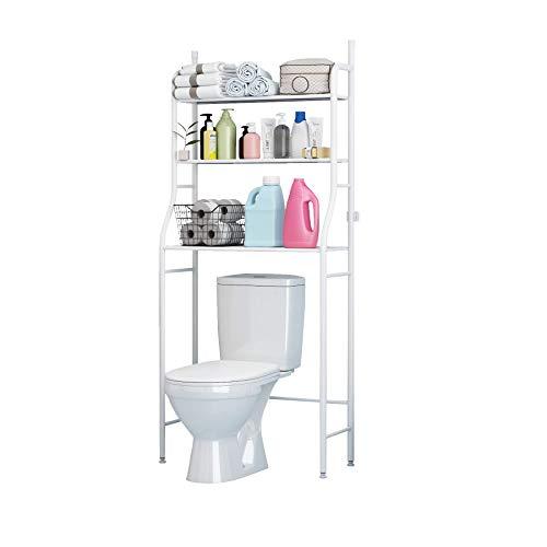 UDEAR 3 Shelf Bathroom Space Saver,Over The Toilet Rack,Bathroom Corner Stand Storage Organizer Accessories,The Washing Machine,Bathroom Tower Shelf,White