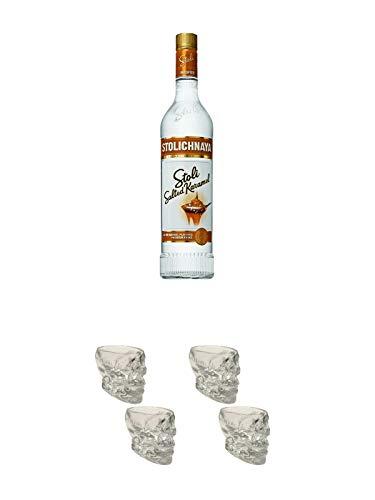 Stolichnaya Salted Karamel 37,5% 0,7 Liter + Wodka Totenkopf Shotglas 2 Stück + Wodka Totenkopf Shotglas 2 Stück