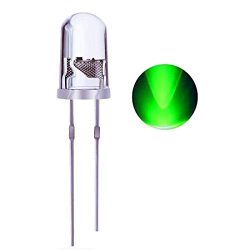 Waycreat 100PCS 5mm Green LED Diodes Lights, Clear
