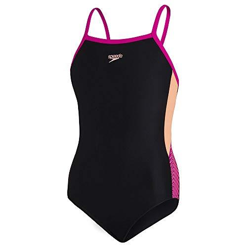 Speedo Muscleback Dive à Bretelles Fines One Piece Swimsuit, Niños, Negro Neon Fire/Electric Pink, 34 (15-16 ANS)
