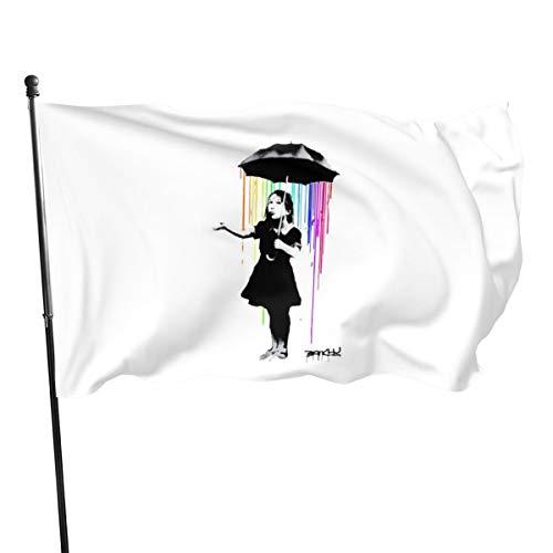 N/ Banksy Regenbogen-Regenschirm, Girl-Flagge, Banner, 91 x 152 cm