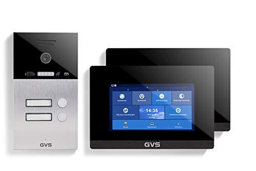 GVS AVS4088U - Videoportero de 4 cables/IP (IP65, con RFID, 2 monitores de 7 pulgadas, App, cámara HD de 120 °, apertura de puerta, 32 GB de memoria, conmutador PoE, 2 juegos de casa familiar)