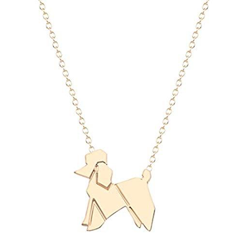 GYKMDF Collar de perro de origami caniche de plata o oro, collar con colgante de perro de caniche...