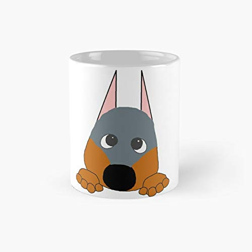 Doberman Pinscher Blue and Rust Peeking Classic Mug Best Gift Funny Coffee Mugs 11 Oz
