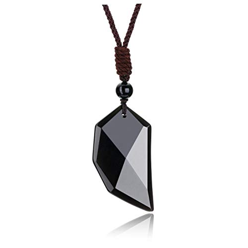 JOVIVI Black Obsidian Crystal Stone Healing Wolf Tooth Pendant Necklace Men Natural Gemstone Quartz Amulet Lucky Protection Crystal Necklace for Women Jewellery