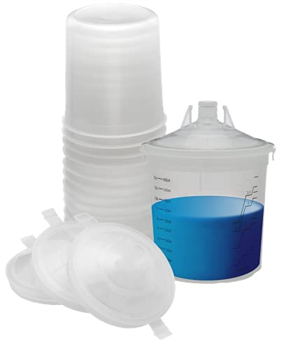 Body Works - Automotive Spray Cup Paint System - with Hard Cup (20 Oz) - 50 Disposable Liners and Snap On Lids - 125-Micron Filters - Compatible with Legacy PPS System (Not 2.0)