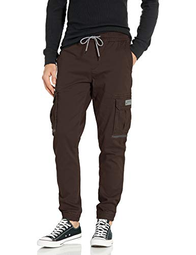 UNIONBAY Men's Elastic Waist Stretch Twill Relaxed Fit Cargo Jogger Pants, Android, Small
