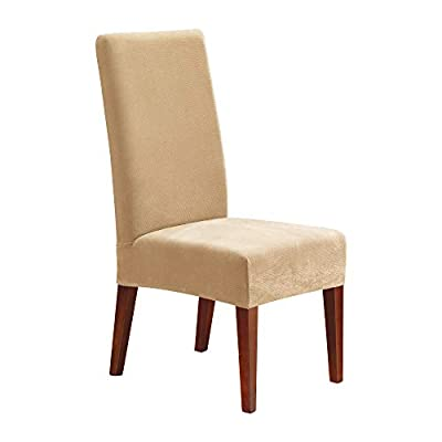 SureFit Short Dining Chair Slipcover-Stretch Pique-Up to 42 Inches Tall-Removable Machine Wash
