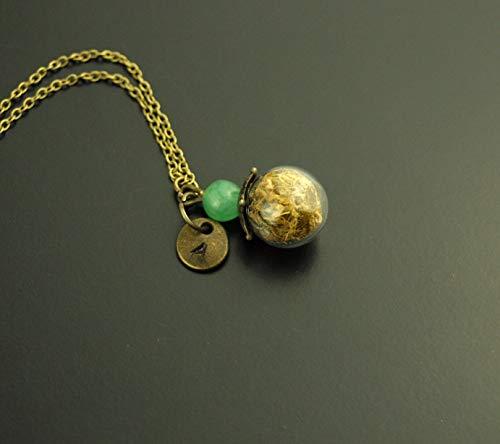 Kette Anhänger Wunsch Buchstaben Gravur echte Blüten Glasperle Jade Edelstein Perle grün bronze Juvelato