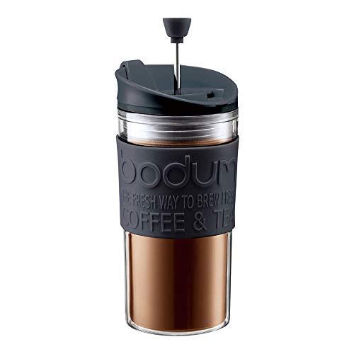 Bodum - K11102-01 - Travel Press Set - Mug à Piston Isotherme Double Paroi Plastique + 2ème Couvercle - 0.35 L - Noir