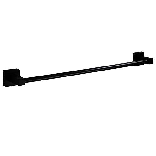 Toallero Negro de Acero Inoxidable, un Solo Poste, Porta Toallas de Cocina y baño, Autoadhesivo Perforado de Doble Uso, 30 cm a 80 cm