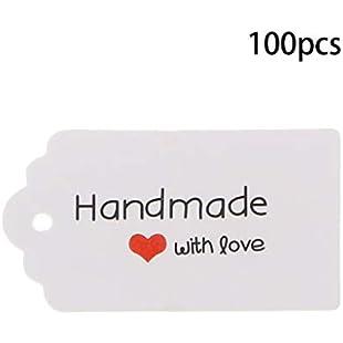 Hoxin 100PCS Retro Kraft Paper Gift Tags Cards Handmade Price Tags for Wedding Birthday:Kisaran