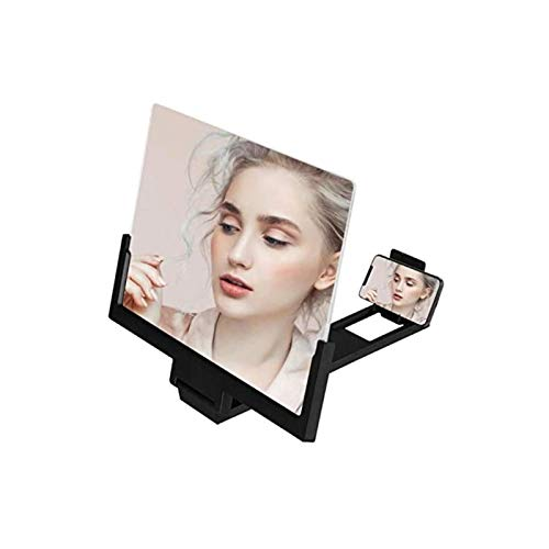 Head MountLighted Magnifying Glasses, 14 inch Mobile Phone Screen Magnifier 3D Video Movie Amplifier Magnifying Enlarged Foldable Phone Bracket Tablet Holder Stand (Color : Black) for Hobbies,Reading,