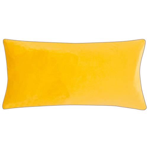 pad - Elegance - fluwelen kussens, sierkussens, kussenhoes - 35 x 60 cm - kleur: geel - zonder vulling