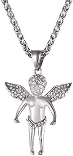 YANCONGOro/Plata Color Cupido Ángel Colgante Collar Lindo Hombres/Mujeres Joyería Collares de ala de Diamantes de imitación austríacos