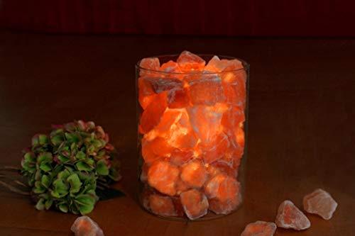 HIMALAYA SALT DREAMS – zoutkristal vuur in glas, groot, Ø ca. 14 cm, H: ca. 19 cm, inclusief witte palmwas kaars.