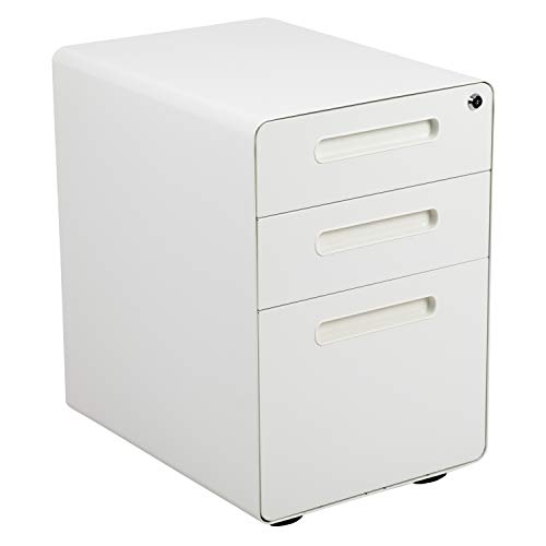 Flash Furniture Ergonomic 3-Drawer Mobile Locking Filing Cabinet with Anti-Tilt Mechanism and Hanging Drawer for Legal & Letter Files, White