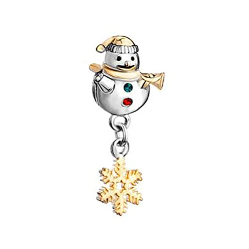 Pandora Fashion 925 Charm Cute Snowman Horn Verde Rojo Cristal Copo De...
