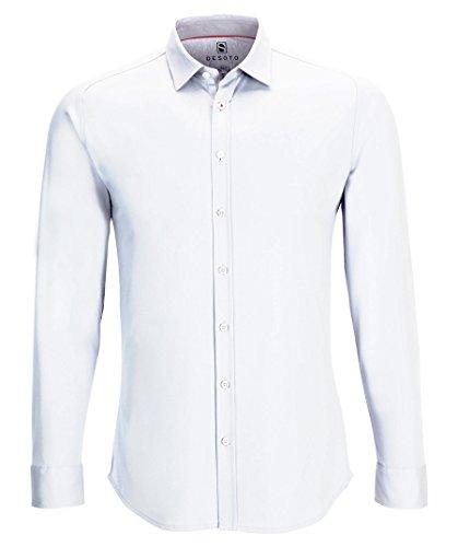 DESOTO Herren Langarm Hemd mit Kent-Kragen - BÜGELFREI - Weiß (001) Gr. XL (43/44)