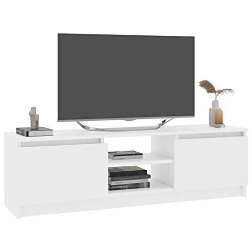 Tidyard Mueble para TV de aglomerado Mesa para TV Diseño Moderno Aparador para TV Mueble TV Salón Mesa Televisión Mueble Comedor Televisor, Blanco 120x30x35,5 cm