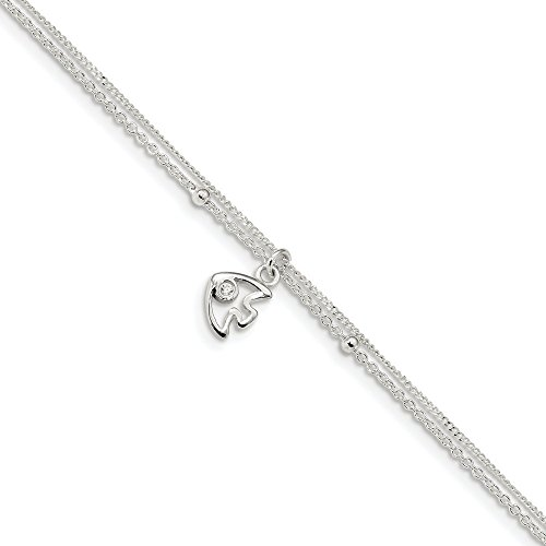 925 Sterling Silver 2 Strand Cubic Zirconia Cz Fish 9 Inch 1 Adjustable Chain Plus Size Extender Anklet Ankle Beach Bracelet Fine Jewellery For Women Gifts For Her