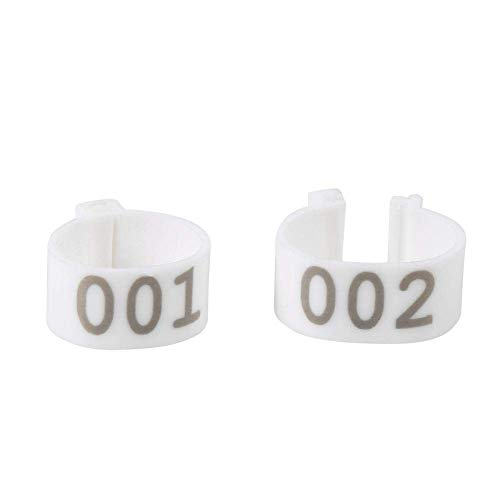 100PCS Pigeon feet Rings with Number 16MM 001-100 Numbered Plastic Poultry Chickens Ducks Goose Leg Bands Rings for Identify Dove Training Rings, 6Colors(White)