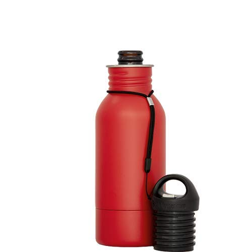 BottleKeeper - The Stubby 2.0 - The Original Stainless Steel Bottle Holder and Insulator to Keep Your Beer Colder (Red)