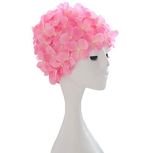 YONKINY Damen Badekappe mit Blumenmuster Elastisch Lange Haarpflege Bademütze Schwimmenkappe Badehaube (Pink)
