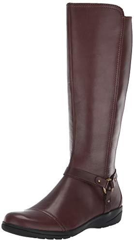 Clarks womens Cheyn Lindie Knee High Boot, Dark Brown Leather/Synthetic C, 8 Wide US