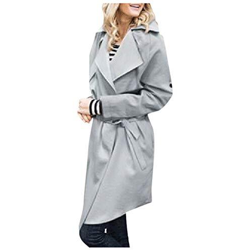 FRAUIT Damen Trenchcoat mit Gürtel Anzug Kragen Bluse Britischen Mantel Business Mantel Lässige Outwear Parka Cardigan Elegant Simplicity Solid Warm Outwear