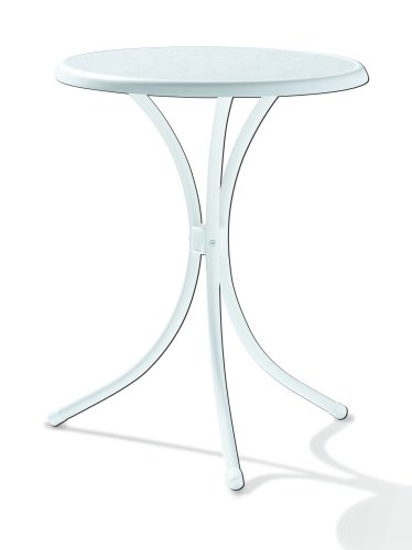 Sieger 100/W Bistro-Tisch mit mecalit-Pro-Platte Ø 60 cm, Stahlrohrgestell weiß, Tischplatte Marmordekor weiß