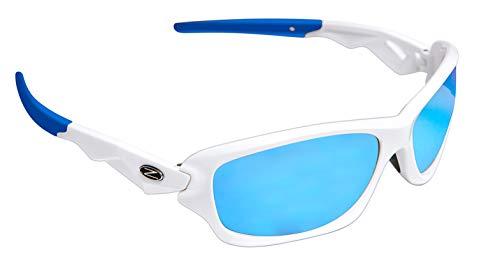 Rayzor Profesionales Ligeros UV400 Blanco Deportes Wrap ESQUÍ Gafas de Sol, con una antideslumbrante Lente Azul Iridium.