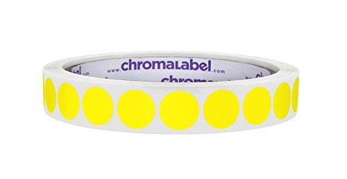 ChromaLabel 1/2 Inch Round Permanent Color-Code Dot Stickers, 1000 Labels per Roll, Yellow