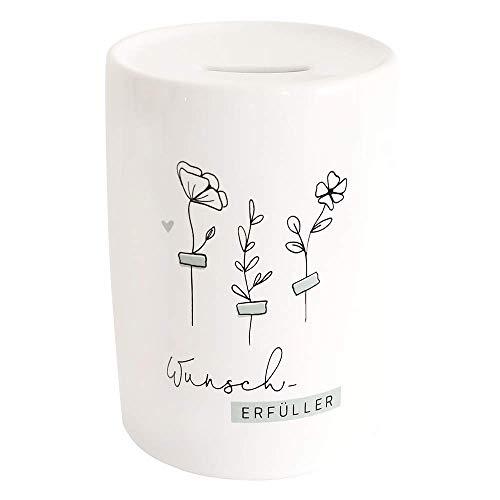 """Odernichtoderdoch Spardose""""Wunscherfüller"""" - Sparbüchse aus Keramik mit Einwurfschlitz und floralem Motiv - Maße 15 x 10 cm, Weiß"""