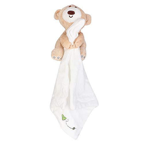Imagen para Bebé Manta de seguridad Suave Oso de peluche Oso de felpa Manta de confort Juguete calmante para niños pequeños(Blanco)