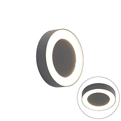 QAZQA Modern Wand- en plafondlamp grijs rond IP54 - Ariel Aluminium/Kunststof Rond LED inbegrepen Max. 1 x 8 Watt