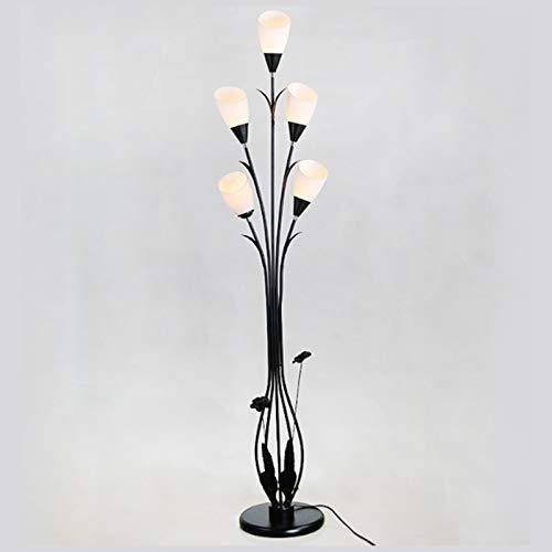 ASY Lámpara De Pie Lámpara De Pie LED De Hierro para El Hogar con 5 Cabezas Creativa Simple Forjada para Dormitorio Sala De Estar Lámpara De Pie De Estudio 168cm
