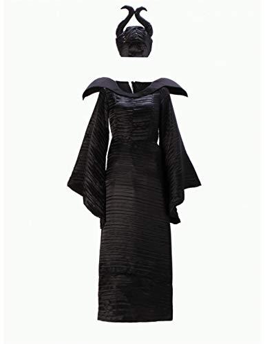 GBYAY Disfraz de Bruja de Halloween maléfica para Mujeres Adultas Vestido de Bruja Malvada Traje de Sombrero de Cuerno