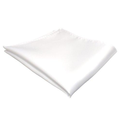 TigerTie gewebtes Seideneinstecktuch in der Farbe weiß reinweiß - Tuch Pochette Kavalierstuch Stecktuch zu 100% Seide