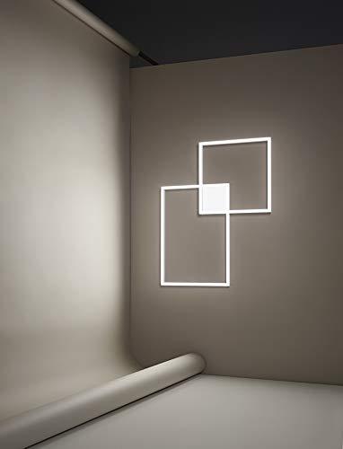 PERENZ Lampada LED murale con 2 riquadri in alluminio Bianco e Diffusore Acrilico Plafoniera geometrica LED 64W 4800Lm 3000K Misure LxHxP 78x98x6 cm
