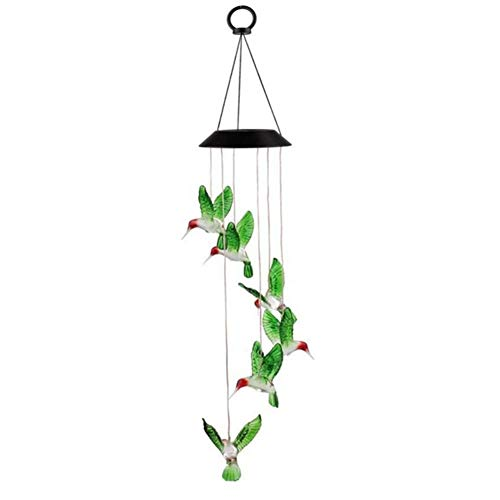 JUNFEI LED Solar Light Outdoor Color-Changing Light Waterproof Solar Patio Lights Decorative Mobile Hummingbird Wind Chimes Home,Party,Festival Decor,Valentines Gift,Night Garden