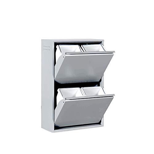 Betten-ABC Refina Mehrzweckschrank, Mülltrenner, platzsparend, aus pflegeleichtem Metall Farbe Grau, Größe 4...