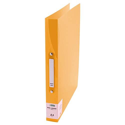 D.RECT 2200 Plastik-Ringordner Ringbuch aus PP | Plastik-Cover, Polypropylene | A4 35mm Rückenbreite 2 Ringe | transparent Gelb