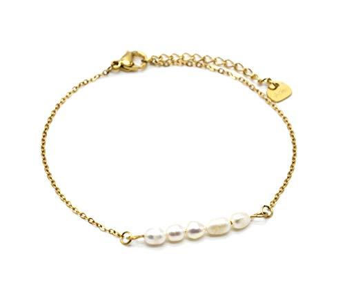 Oh My Shop BC4242 - Pulsera de cadena de acero dorado con varias perlas de agua dulce
